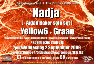 Nadja+Yellow6+Graan+Aidan Baker flyer 2 Sept 2009
